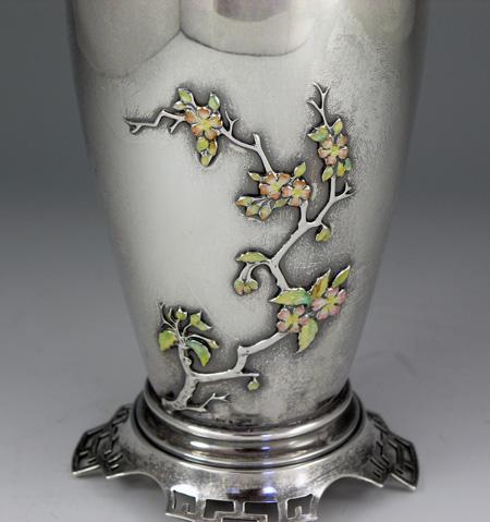 Mount Vernon Sterling Jade And Enamel Vase
