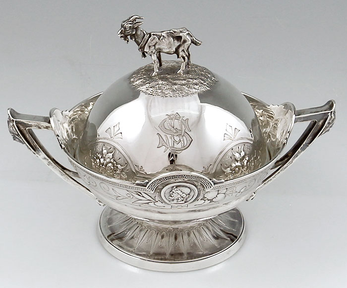 Gorham Coin Silver Butter Dish With Liner And Goat Finial
