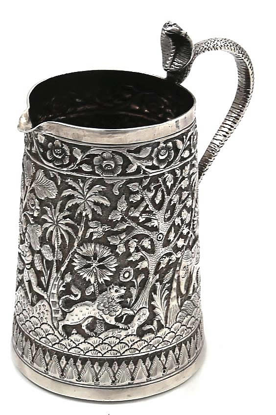 Indian Silver Kutch Region Pitcher With Snake Cobra Handle