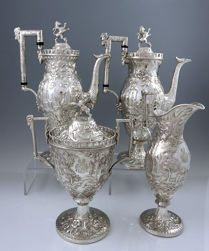 Unusual Kirk Landscape Four Piece Tea Set With Horse Finial And