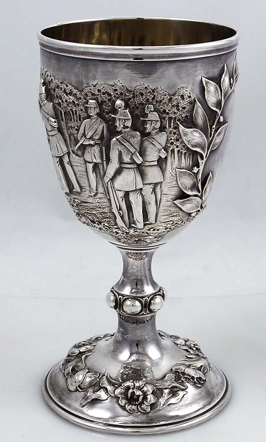Robert Hennell Antique Silver Goblet With Shooting Scenes