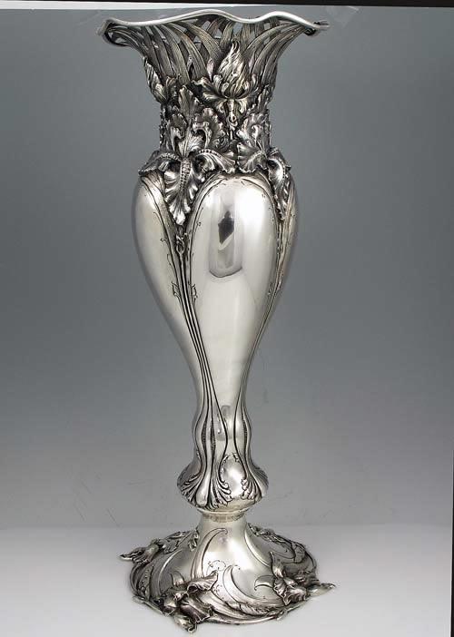 american art nouveau antique silver vase tall 20 1 8