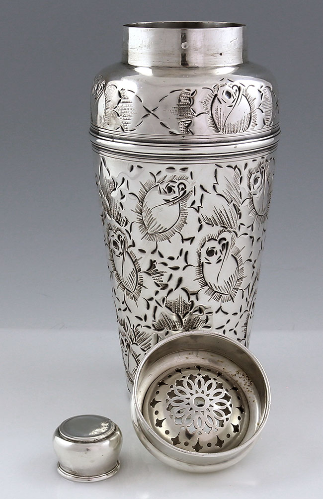 Large Tiffany Sterling Silver Cocktail Shaker With Chased