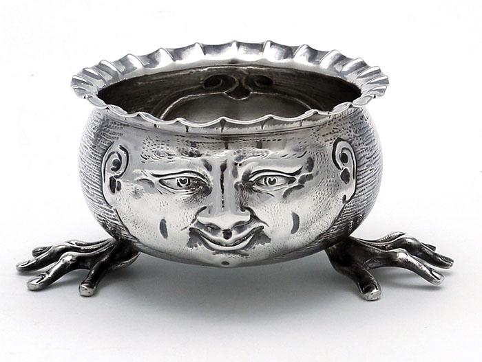 Francis Higgins Large Laster Salt English Silver With Face And Feet