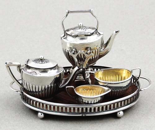 Top 20 Tea Platters: English Silver Miniature Tea Set On Tray