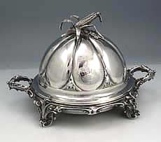 silver covered butter dish