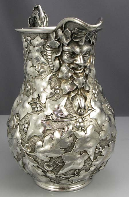 Jacobi Sterling Water Pitcher With Face And Ivy Leaves