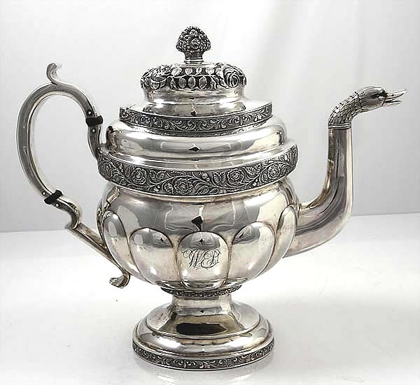 G Eoff Coin Silver Tea Pot Bird Spout
